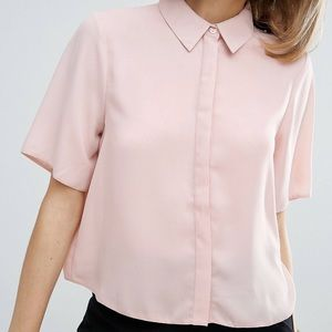 ASOS Soft Button Down Shirt with Short Sleeves